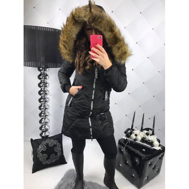 Černá zimní bunda s TOP kožichem