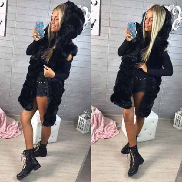 Luxusní delší vestička s kapucí - BLACK