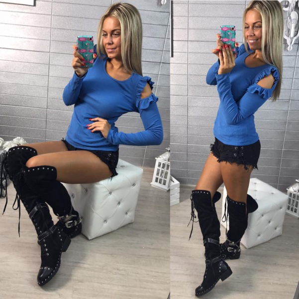 Tričko s volánky na rukávech - BLUE