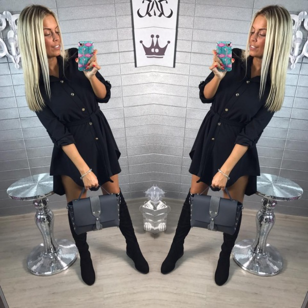 Halenko-šaty - BLACK