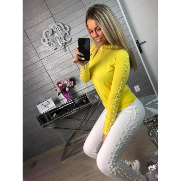 Perličkový svetřík žlutý