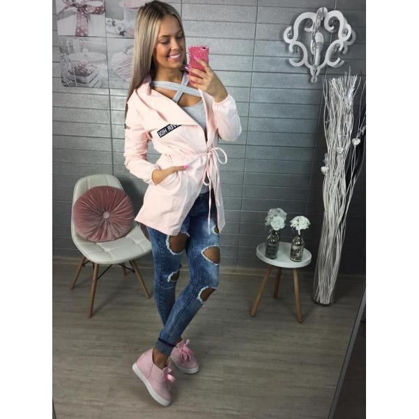 Pink kardigan s  kapucí