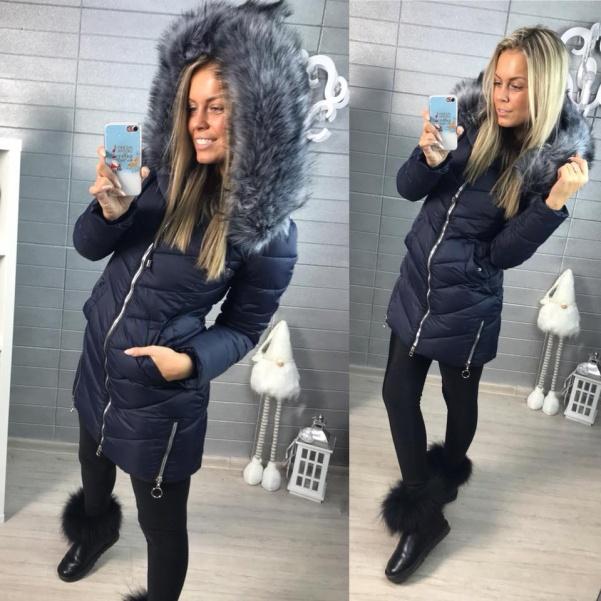 Luxusní modrá zimní bundička s bohatým kožíškem