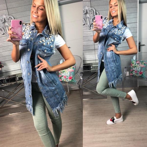 Jeans vestička s perličkami
