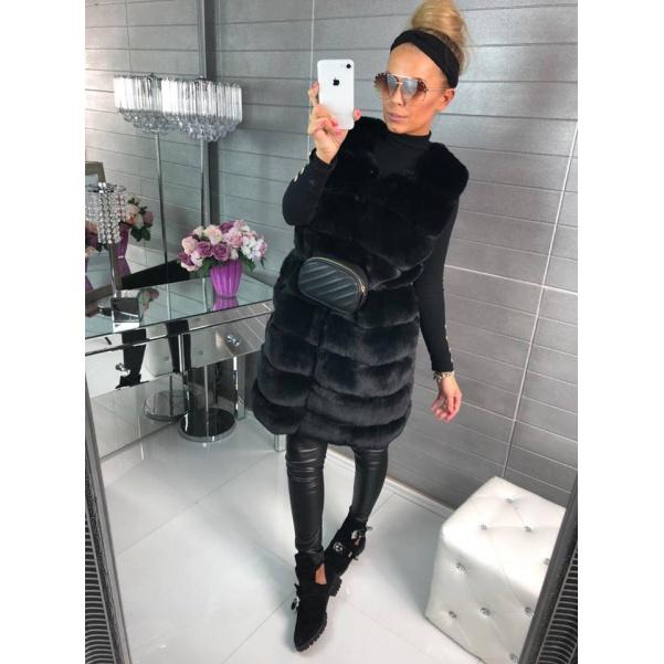 Bochánková dlouhá vesta - black
