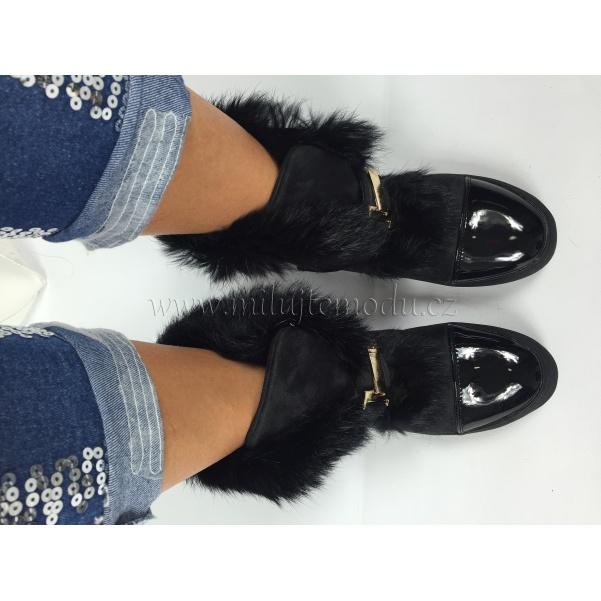 Zimní černé boty s kožíškem