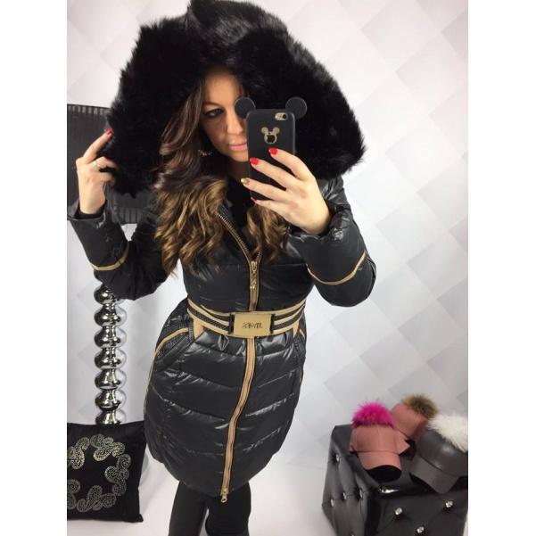 Luxusní černá bunda s páskem