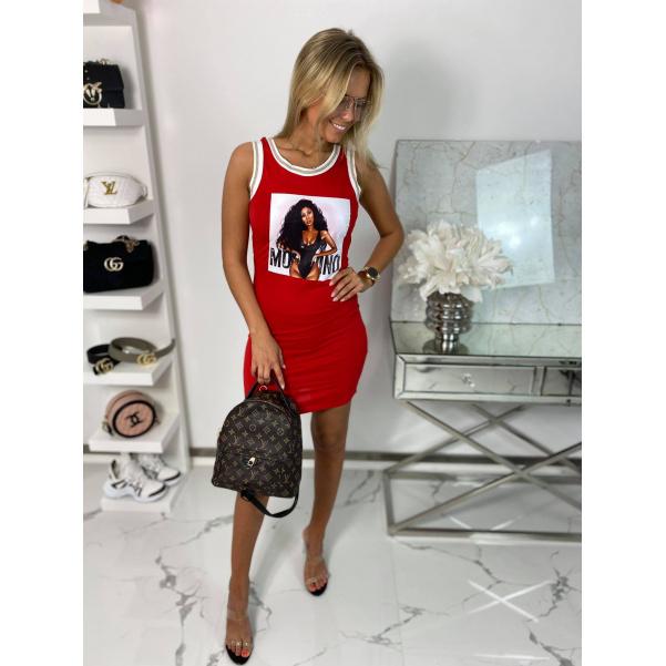 Slim šaty s obrázkem - červené