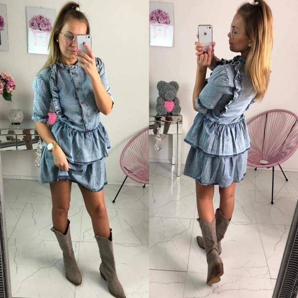 Jeans šaty s volány
