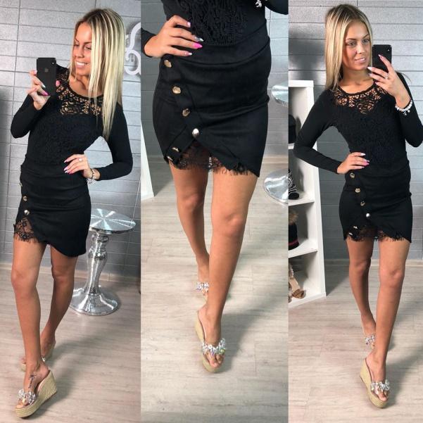 Semišková elastická suknička - black