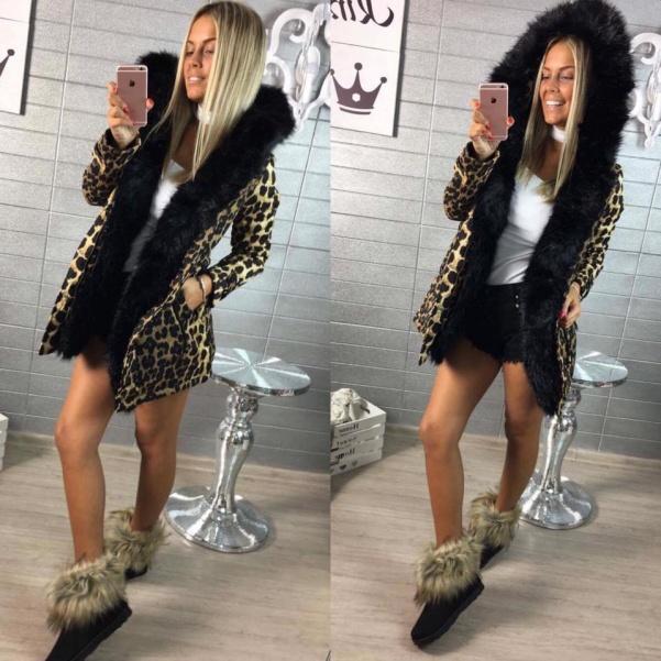 Leopardí parka s bohatým kožíškem