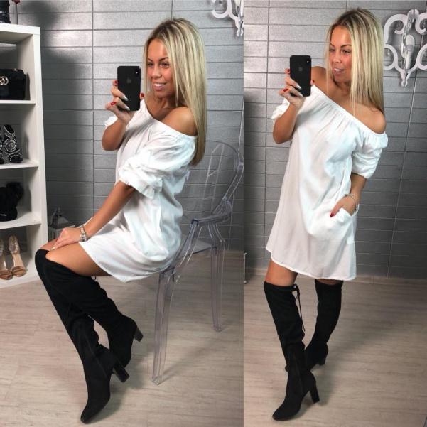 Bílá halenka -šaty s nařasenými rukávy