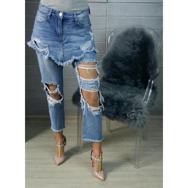 Extravagantní jeans se sukní