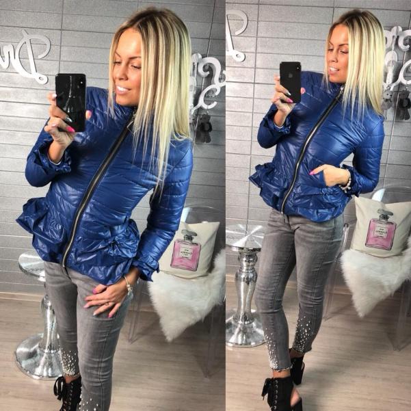 Luxusní modrá bundička s volánky