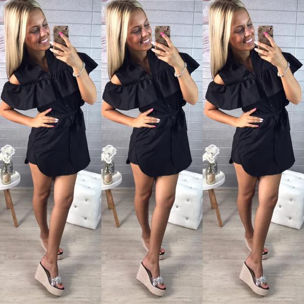 Košilové šaty s volánky černé