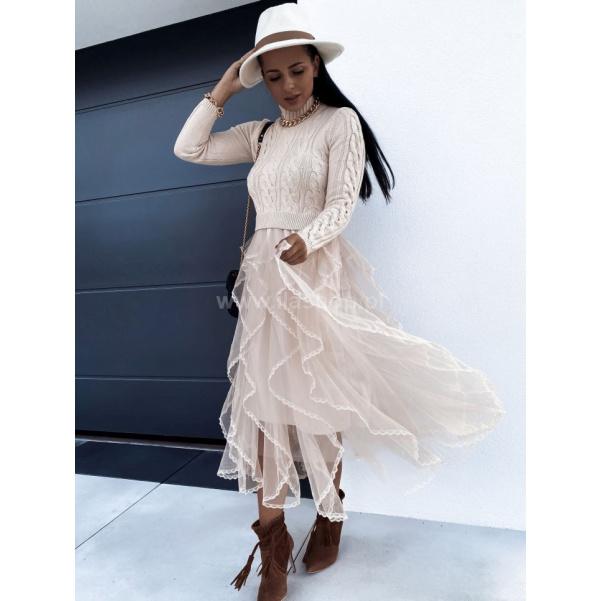 Šaty s tylovou sukni a svetříkem- Beige
