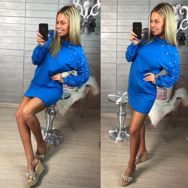 Blue šaty s perličkami