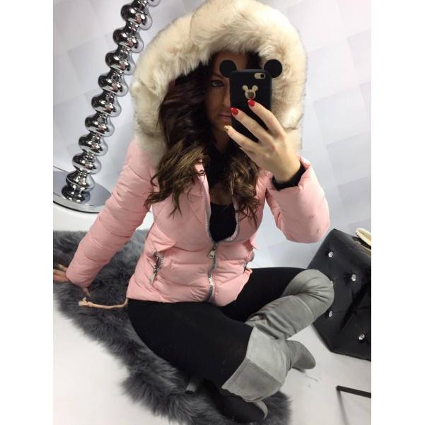 Pink zimní bundička s kožíškem