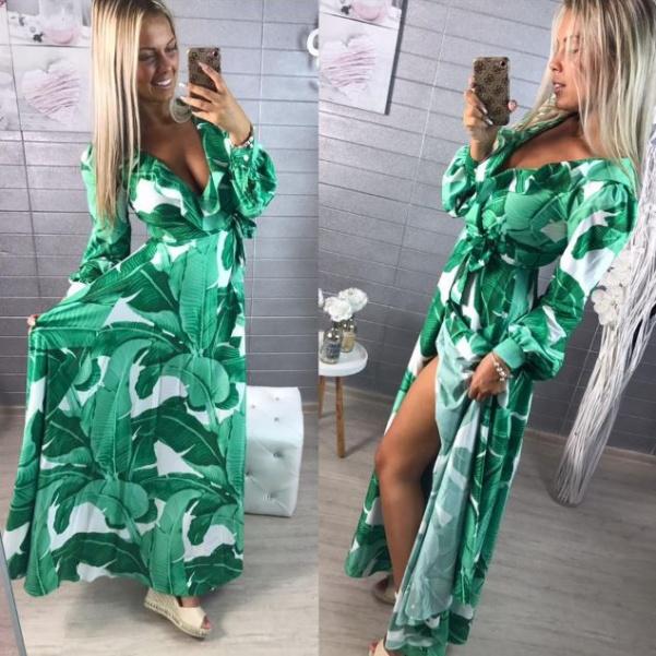 Luxusní hedvábné šaty s listy