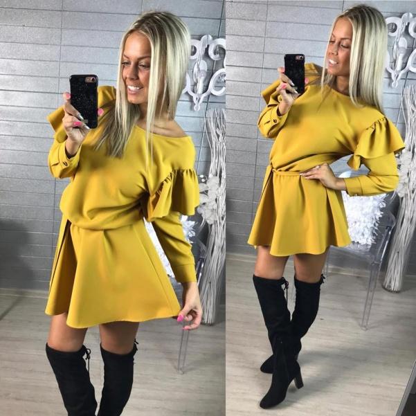Luxusní šatičky s volánky a vázaním- žluté