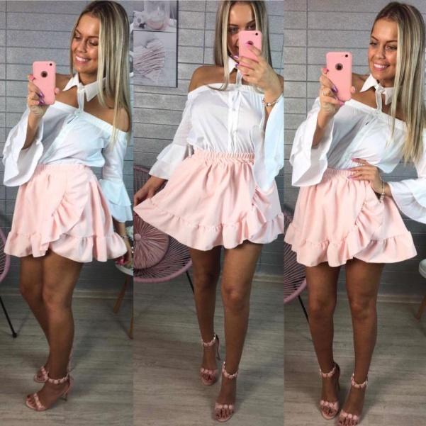 Růžová bohatá volánková sukně