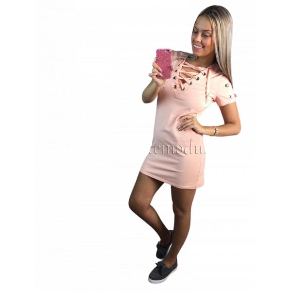 Pink šatičky s vázáním