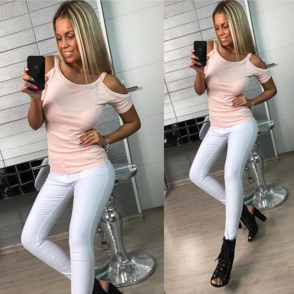 Top tričko s perličkami růžové