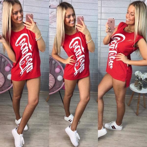 Červené tunikošaty Coca-Cola