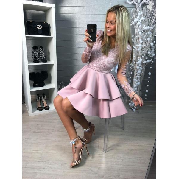 Luxusní plesové šatičky s nádhernou krajkou- fialkové