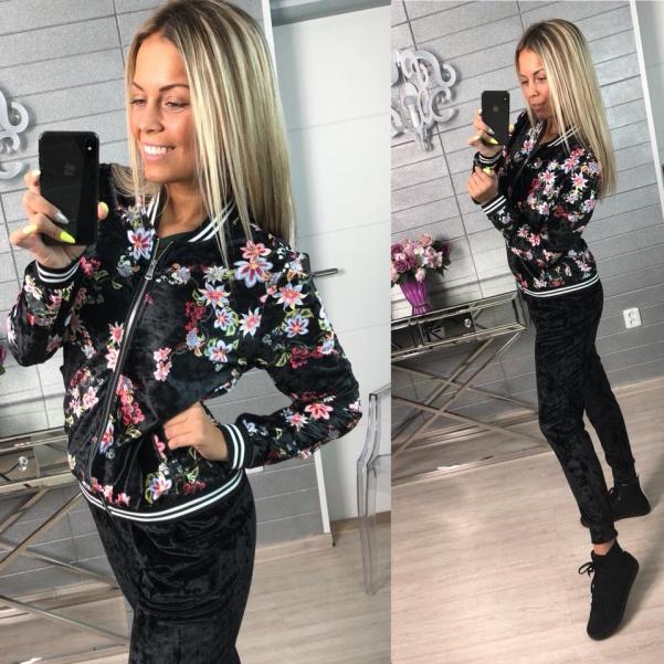 Velurová mikina flowers