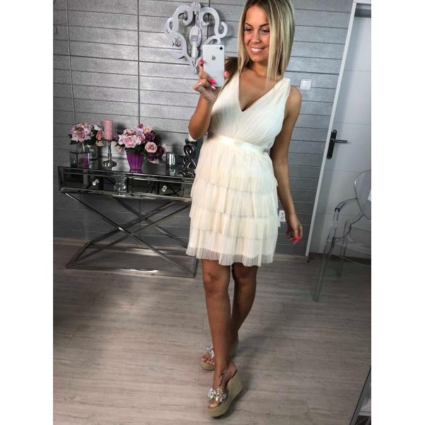 Luxusní krémové volánkové šaty