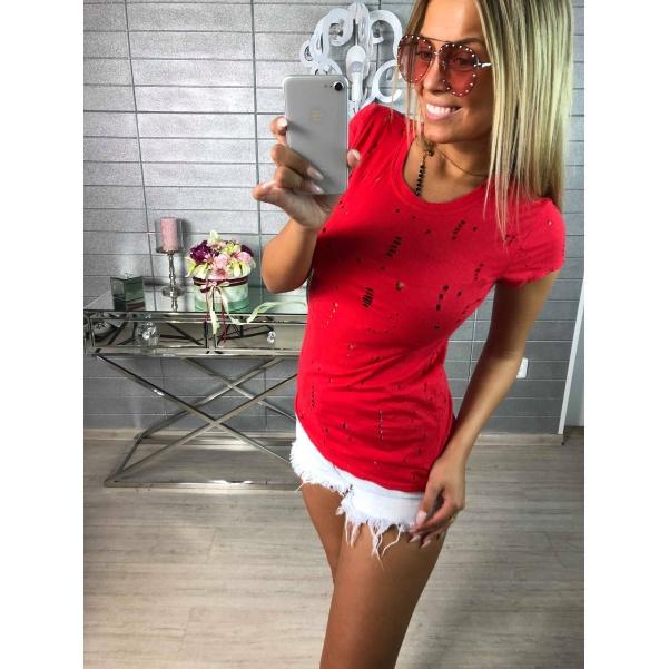 TOP děrované triko červené