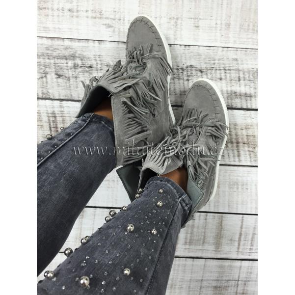 Luxusní světle šedé boty se střapcemi