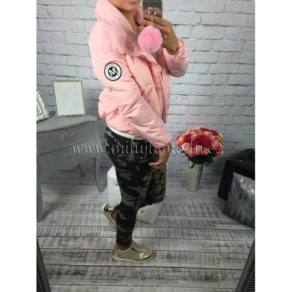 Růžová krátká bunda s límcem