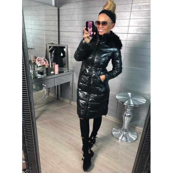 Krásná long zimní bundička s bohatým kožíškem -black