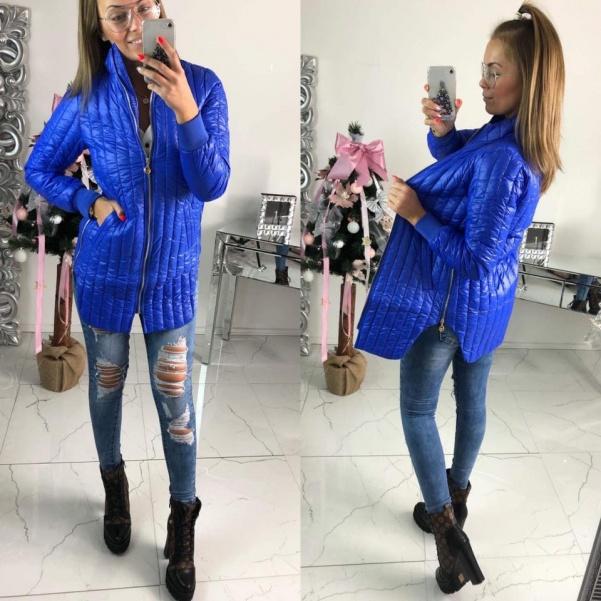 Prošívaná bunda se zipy modrá