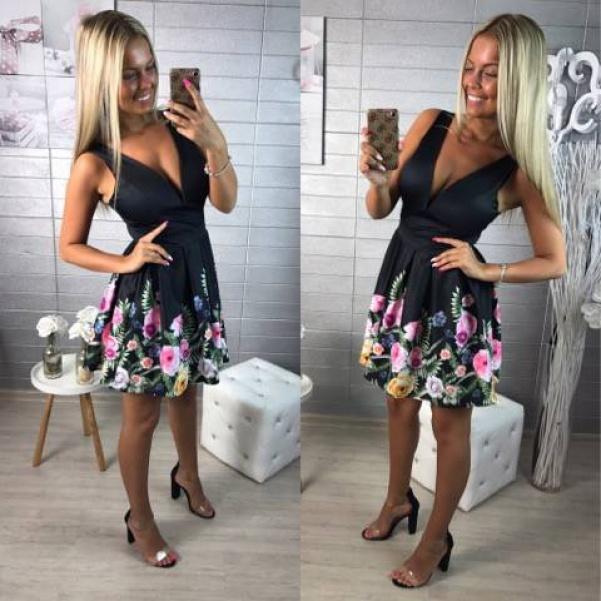 Luxusní černé šaty s květinkami