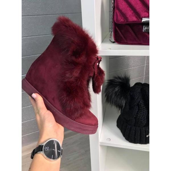 Vyteplené botičky s kožíškem Bordo