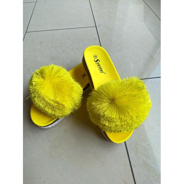 TOP chlupaté cuklíky neon žluté