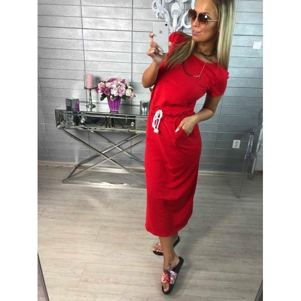Pohodové šaty s vázaním - červená