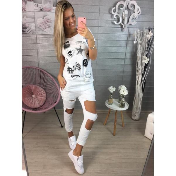 Bílé tričko s obrázky