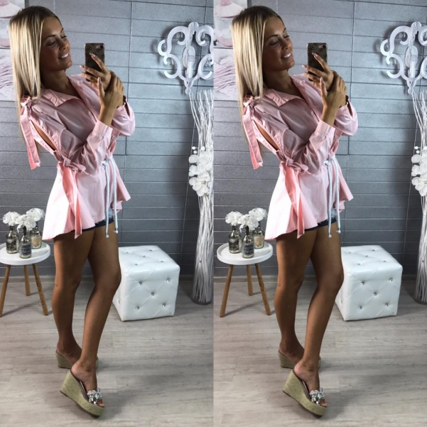 Košile s mašlemi růžová