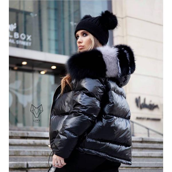 Luxusní péřová bunda s pravým kožíškem - black