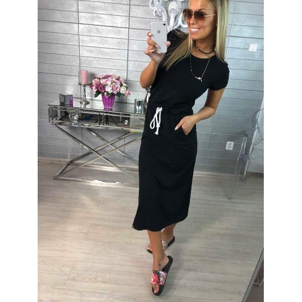 Pohodové šaty s vázanim - černá