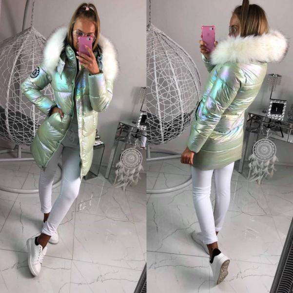 Měníci se zimní bunda s bílým kožichem- Zelená