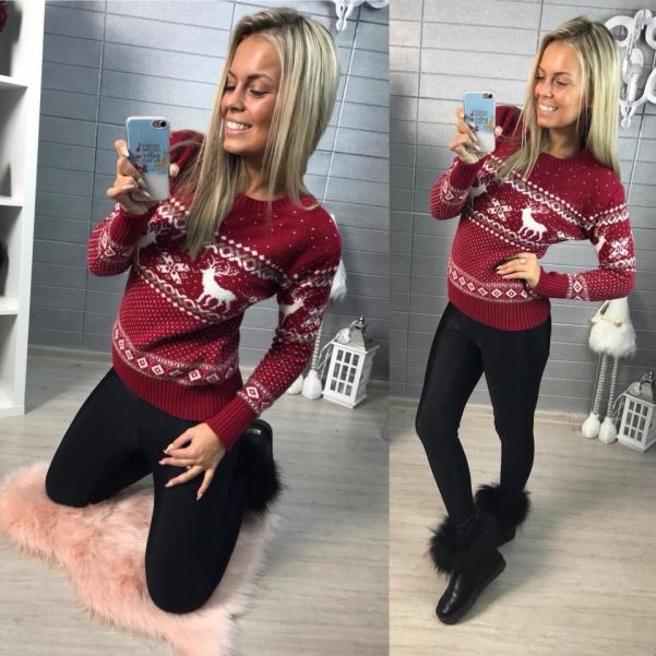 Vánoční svetřík se vzorem- červený