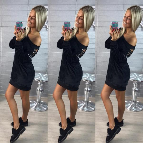 Saténové šaty s perličkami black