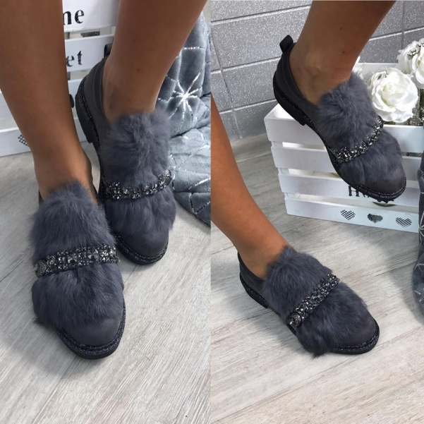 Stylové chlupaté botky šedé