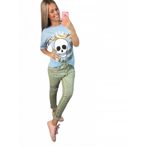 Modré triko s lebkou
