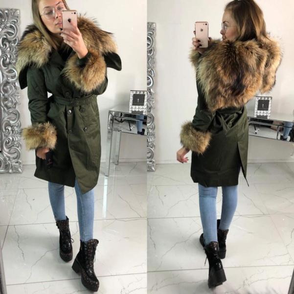 Luxusní kabát s pravým kožichem khaki